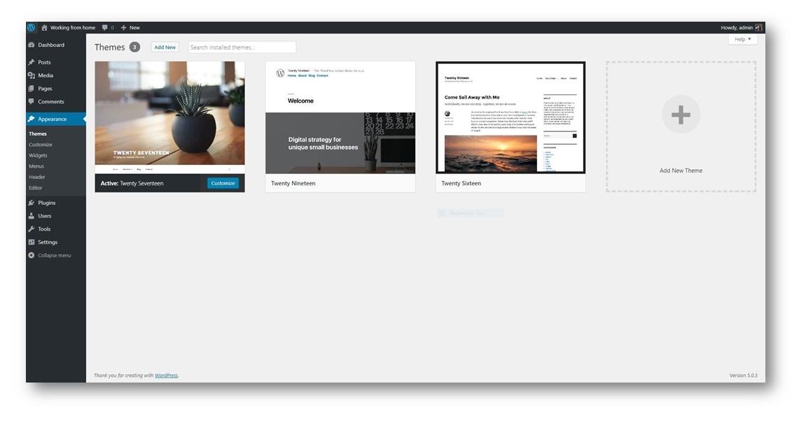 wordpress theme page